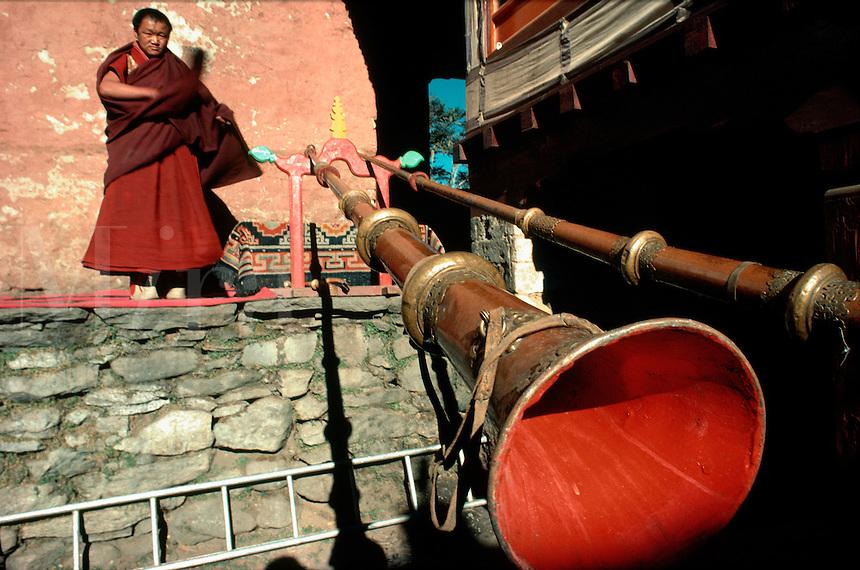 .Himalayan horns at Thyangboche Monastery during the Mane Rimdu festival, Khumbu (Everest) region, Nepal Himalaya..