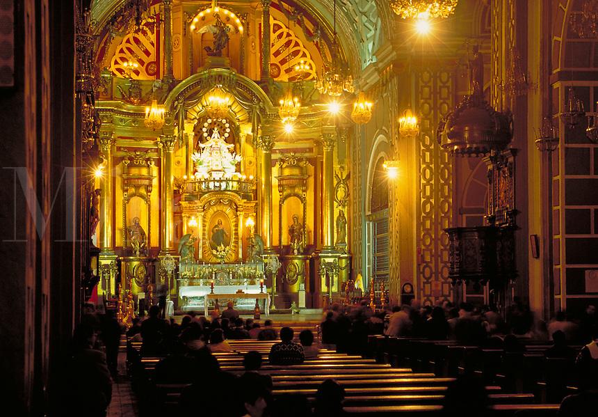 South America ; travel ; cathedral ; interior ; altar ; Catholicism. Lima, Peru.