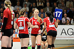 Rüsselsheim, Germany, April 13: Substitution of Celin Stoehr #6 of the Rote Raben Vilsbiburg +and Norisha Campbell #17 of the Rote Raben Vilsbiburg during play off Game 1 in the best of three series in the semifinal of the DVL (Deutsche Volleyball-Bundesliga Damen) season 2013/2014 between the VC Wiesbaden and the Rote Raben Vilsbiburg on April 13, 2014 at Grosssporthalle in Rüsselsheim, Germany. Final score 0:3 (Photo by Dirk Markgraf / www.265-images.com) *** Local caption ***