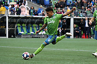 SEATTLE, WA - NOVEMBER 10: Raul Ruidiaz #9 of the Seattle Sounders FC takes a shot during a game between Toronto FC and Seattle Sounders FC at CenturyLink Field on November 10, 2019 in Seattle, Washington.