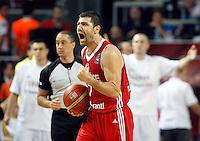 Omer ONAN (Turkey) celebrates during the semi-final World championship basketball match against Serbia in Istanbul, Serbia-Turkey, Turkey on Saturday, Sep. 11, 2010. (Novak Djurovic/Starsportphoto.com) .