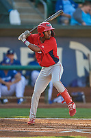 Drevian Williams-Nelson (37) of the Orem Owlz at bat against the Ogden Raptors at Lindquist Field on September 3, 2019 in Ogden, Utah. The Raptors defeated the Owlz 12-0. (Stephen Smith/Four Seam Images)