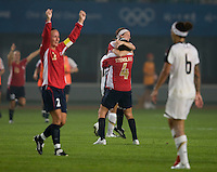 Norwegian midfielder (4) Ingvild Stensland and teammate (13) Lene Storlokken embrace after their first round game in the 2008 Beijing Olympics in Qinhuangdao, China. .  The US lost to Norway, 2-0, at Qinhuangdao Stadium.