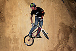 Ryan Guettler competes in the Bike Dirt finals at the Staples Center during X-Games 12 in Los Angeles, California on August 3, 2006.
