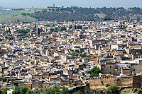 Fes, Morocco.  Fes El Bali from the Merenid Tombs.