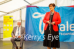 Norma Foley TD Minister for Education addressing the Irish Dancing Fest in the Park 2021 on Thursday, also in the photo is Johnnie Wall (Mayor of Tralee)