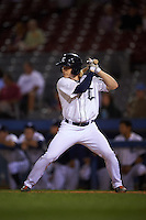 Connecticut Tigers outfielder Joey Havrilak (48) at bat during the first game of a doubleheader against the Brooklyn Cyclones on September 2, 2015 at Senator Thomas J. Dodd Memorial Stadium in Norwich, Connecticut.  Brooklyn defeated Connecticut 7-1.  (Mike Janes/Four Seam Images)
