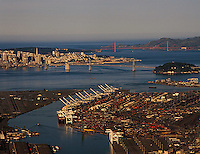 aerial photograph Port of Oakland toward San Francisco, California at dawn