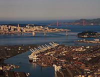 aerial photograph Port of Oakland toward San Francisco, California at dawn