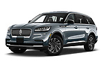 Stock pictures of low aggressive front three quarter view of 2021 Lincoln Aviator - 5 Door SUV Low Aggressive