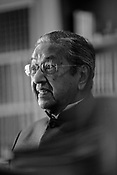 Mahathir Mohamad, Malaysia's former prime minister, reacts during an interview in his office in Purtrajaya, Malaysia.