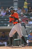L.J. Hoes #28 of the Frederick Keys headed down to first base after drawing a walk during a game against the Myrtle Beach Pelicans on May 2, 2010 in Myrtle Beach, SC.