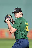 Lynchburg Hillcats pitcher Jarrett Miller (18) throws in the outfield before a game against the Salem Red Sox on April 25, 2014 at Lewisgale Field in Salem, Virginia.  Salem defeated Lynchburg 10-0.  (Mike Janes/Four Seam Images)