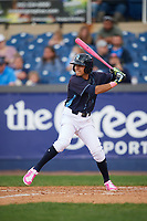 Wilmington Blue Rocks shortstop Nicky Lopez (7) at bat during the second game of a doubleheader against the Frederick Keys on May 14, 2017 at Daniel S. Frawley Stadium in Wilmington, Delaware.  Wilmington defeated Frederick 3-1.  (Mike Janes/Four Seam Images)