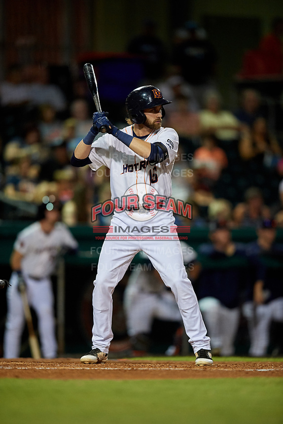 Bowling Green Hot Rods third baseman Zach Rutherford (15) at bat during a game against the Peoria Chiefs on September 15, 2018 at Bowling Green Ballpark in Bowling Green, Kentucky.  Bowling Green defeated Peoria 6-1.  (Mike Janes/Four Seam Images)