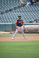 Francisco Peña (23) of the Las Vegas Aviators during the game against the Salt Lake Bees at Smith's Ballpark on July 25, 2021 in Salt Lake City, Utah. The Aviators defeated the Bees 10-6. (Stephen Smith/Four Seam Images)