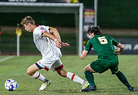 COLLEGE PARK, MD - SEPTEMBER 3: Maryland University forward Hunter George (7) pulls away from George Mason University defender Noah McGrath (5) during a game between George Mason University and University of Maryland at Ludwig Field on September 3, 2021 in College Park, Maryland.