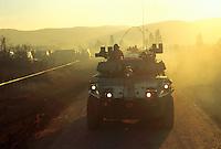 - Centauro armored car of the Italian army on the road of Mostar during NATO intervention in Bosnia of January 1996....- autoblindo Centauro dell'esercito italiano sulla strada di Mostar durante l'intervento NATO in Bosnia del gennaio 1996
