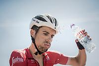 after a hot day in the saddle André Cardoso (POR/Trek-Segafredo) needs a cool-down after finishing<br /> <br /> 69th Critérium du Dauphiné 2017<br /> Stage 8: Albertville > Plateau de Solaison (115km)