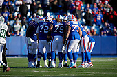 Buffalo Bills offensive huddle during an NFL football game against the New York Jets, Sunday, December 9, 2018, in Orchard Park, N.Y.  (Mike Janes Photography)