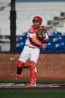 Johnson City Cardinals catcher Carlos Soto (47) throws to third base during a game against the Danville Braves on July 29, 2018 at TVA Credit Union Ballpark in Johnson City, Tennessee.  Johnson City defeated Danville 8-1.  (Mike Janes/Four Seam Images)