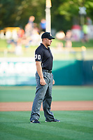 Third base umpire John Libka in action during the game between the Salt Lake Bees and the New Orleans Baby Cakes at Smith's Ballpark on June 8, 2018 in Salt Lake City, Utah. Salt Lake defeated New Orleans 4-0.  (Stephen Smith/Four Seam Images)