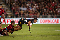 Anton Lienert-Brown is tackled by George Bridge during the 2021 Super Rugby Aotearoa final between the Crusaders and Chiefs at Orangetheory Stadium in Christchurch, New Zealand on Saturday, 8 May 2021. Photo: Joe Johnson / lintottphoto.co.nz