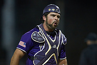 Western Carolina Catamounts catcher Luke Robinson (38) reacts after tagging out a runner at home plate during the game against the St. John's Red Storm at Childress Field on March 12, 2021 in Cullowhee, North Carolina. (Brian Westerholt/Four Seam Images)