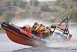 Nith Inshore Rescue independant lifeboat practising just of Glencaple in the River Nith Estuary near Dumfries Scotland UK