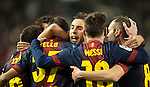 VALLADOLID, SPAIN - DECEMBER 22:  Tello of FC Barcelona celebrates with his teammates after scoring against Real Valladolid during the La Liga game between Real Valladolid and FC Barcelona at Jose Zorrilla on December 22, 2012 in Valladolid, Spain.  Photo by Victor Fraile / The Power of Sport Images