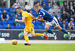 St Johnstone v Livingston….10.08.19      McDiarmid Park     SPFL <br />Ali McCann gets booked for this challenge on Nicky Devlin<br />Picture by Graeme Hart. <br />Copyright Perthshire Picture Agency<br />Tel: 01738 623350  Mobile: 07990 594431