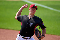 Lansing Lugnuts pitcher Kyle Virbitsky (35) during practice before a game against the West Michigan Whitecaps on August 24, 2021 at Jackson Field in Lansing, Michigan.  (Mike Janes/Four Seam Images)