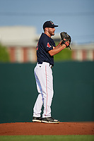 Lowell Spinners starting pitcher Brian Brown (59) gets ready to deliver a pitch during a game against the Vermont Lake Monsters on August 25, 2018 at Edward A. LeLacheur Park in Lowell, Massachusetts.  Vermont defeated Lowell 4-3.  (Mike Janes/Four Seam Images)