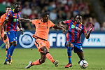 Liverpool FC midfielder Georginio Wijnaldum (L) battles for the ball with Crystal Palace midfielder Aaron Wan-Bissaka (R) during the Premier League Asia Trophy match between Liverpool FC and Crystal Palace FC at Hong Kong Stadium on 19 July 2017, in Hong Kong, China. Photo by Yu Chun Christopher Wong / Power Sport Images