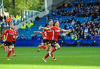Barnsley's midfielder Harvey Barnes (15) runs towards the away fans in Sheffield Wednesday's Leppings lane during the Sky Bet Championship match between Sheff Wednesday and Barnsley at Hillsborough, Sheffield, England on 28 October 2017. Photo by Stephen Buckley / PRiME Media Images.