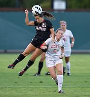 STANFORD, CA - September 7, 2012: Stanford vs Boston University in a women's soccer match in Stanford, California. Final score, Stanford 1, Boston University 0.