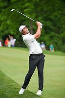 6th June 2021; Dublin, Ohio, USA; Scottie Scheffler (USA) watches his approach shot on to 9 during the Memorial Tournament final round at Muirfield Village Golf Club