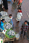 A trio of men selling freshwater fish on flat woven baskets lined with banana leaves at the busy main market of Srimongal.