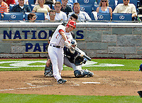 15 May 2012: Washington Nationals infielder Stephen Lombardozzi in action against the San Diego Padres at Nationals Park in Washington, DC. The Padres defeated the Nationals 6-1 to split their 2-game series. Mandatory Credit: Ed Wolfstein Photo