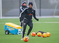 Thursday  21 January 2016<br />Pictured: Neil Taylor of Swansea in action during training <br />Re: Swansea City Training Session at the Fairwood training ground