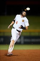 Mesa Solar Sox Brandon Marsh (4), of the Los Angeles Angels organization, runs to third base during an Arizona Fall League game against the Scottsdale Scorpions on September 18, 2019 at Sloan Park in Mesa, Arizona. Scottsdale defeated Mesa 5-4. (Zachary Lucy/Four Seam Images)