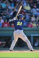 Catcher Tyler Moore (21) of the Columbia Fireflies bats in a game against the Greenville Drive on Sunday, May 8, 2016, at Fluor Field at the West End in Greenville, South Carolina. Greenville won, 5-4. (Tom Priddy/Four Seam Images)