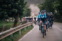 Team Movistar pacing the peloton (through the rain)<br /> <br /> Trofeo Lloseta - Andratx: 140km<br /> 27th Challenge Ciclista Mallorca