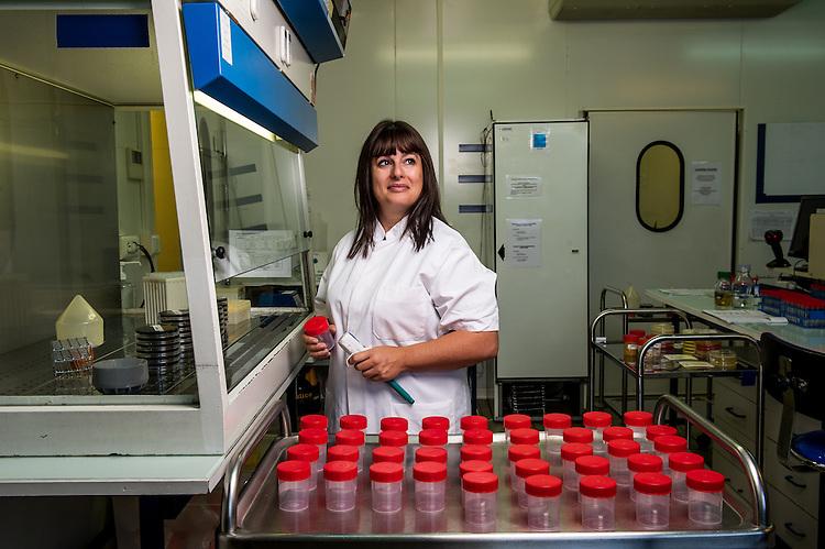 Vanessa Blachere, responsable technique du laboratoire Protec, laboratoire spécialisé dans les problématiques environnementales, installé dans le village d'entreprises de Saint-Henri - Zone franche urbaine ZFU - Marseille 2013