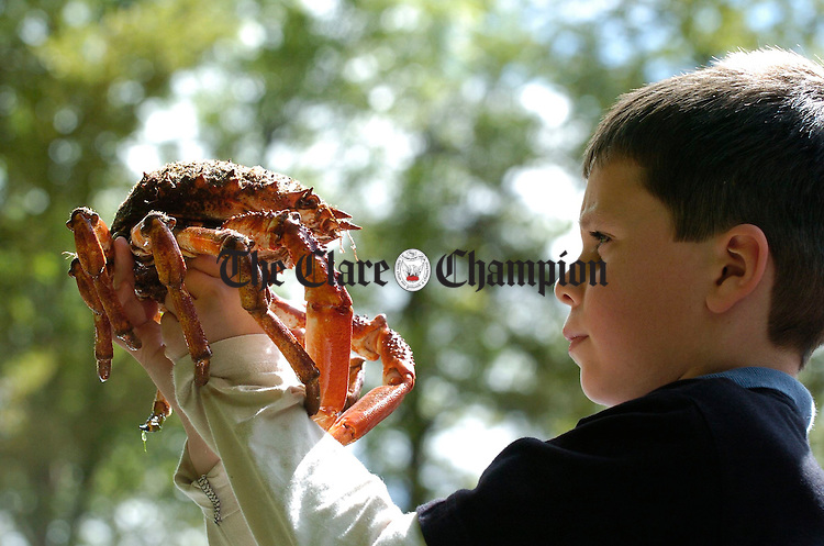Cillian Redmond from Dublin examines a spider crab during Clare Biodiversity day in Dromore wood. Photograph by John Kelly.