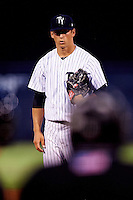 Tampa Yankees starting pitcher James Kaprielian (18) looks in for the sign during a game against the Bradenton Marauders on April 11, 2016 at George M. Steinbrenner Field in Tampa, Florida.  Tampa defeated Bradenton 5-2.  (Mike Janes/Four Seam Images)