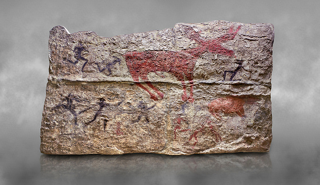 Fresco of human figures around a deer. None of the figures carry weapons and some a dressed in leopard costumes. The figures seem to be trying to hold on or touch the deer amd one figure appears to be holding its tongue. 6000 BC, Catalhoyuk Collections. Museum of Anatolian Civilisations, Ankara. Against a gray mottled background