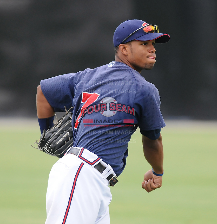 July 15, 2009: Outfielder L.V. Ware (7) of the Danville Braves, rookie Appalachian League affiliate of the Atlanta Braves, before a game at Dan Daniel Memorial Park in Danville, Va. Photo by:  Tom Priddy/Four Seam Images