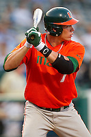 Peter O'Brien #7 of the Miami Hurricanes at bat against the Wake Forest Demon Deacons at NewBridge Bank Park on May 25, 2012 in Winston-Salem, North Carolina.  The Hurricanes defeated the Demon Deacons 6-3.  (Brian Westerholt/Four Seam Images)