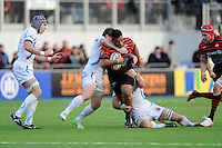 20130216 Copyright onEdition 2013©.Free for editorial use image, please credit: onEdition..Mako Vunipola of Saracens is tackled during the Premiership Rugby match between Saracens and Exeter Chiefs at Allianz Park on Saturday 16th February 2013 (Photo by Rob Munro)..For press contacts contact: Sam Feasey at brandRapport on M: +44 (0)7717 757114 E: SFeasey@brand-rapport.com..If you require a higher resolution image or you have any other onEdition photographic enquiries, please contact onEdition on 0845 900 2 900 or email info@onEdition.com.This image is copyright onEdition 2013©..This image has been supplied by onEdition and must be credited onEdition. The author is asserting his full Moral rights in relation to the publication of this image. Rights for onward transmission of any image or file is not granted or implied. Changing or deleting Copyright information is illegal as specified in the Copyright, Design and Patents Act 1988. If you are in any way unsure of your right to publish this image please contact onEdition on 0845 900 2 900 or email info@onEdition.com